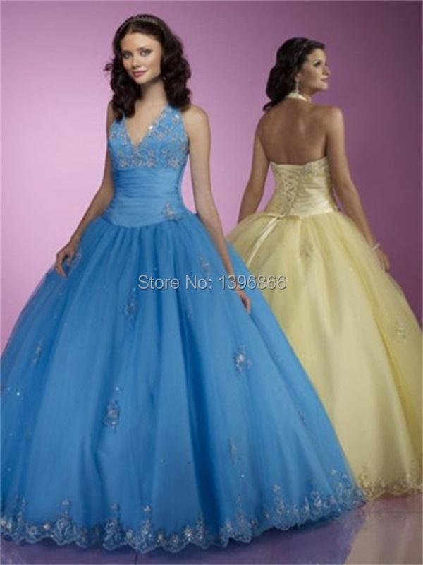 Modern Blue Quinceanera Dresses Ball Gowns 2014 Appliques ...