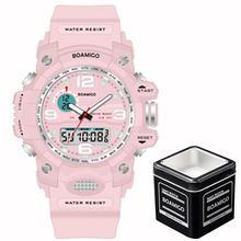 Женские спортивные часы BOAMIGO, Многофункциональные цифровые водонепроницаемые часы с двойным дисплеем(Китай)