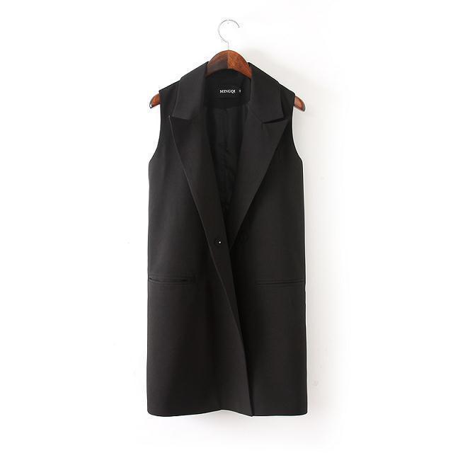 Новое 2015 мода женщин элегантные среднего - длинная Sleevless черный цвет блейзер жилетки Большой размер