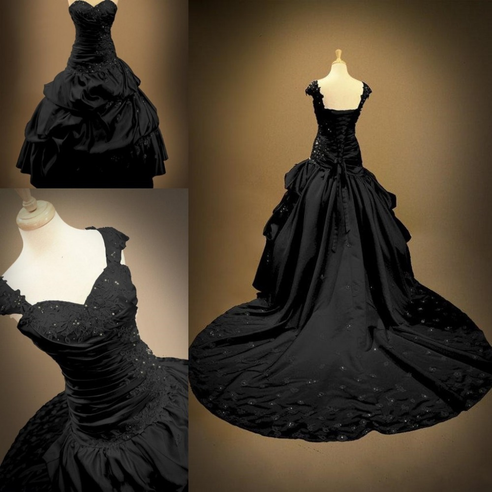 Gothic Black Wedding Dresses Plus Size Ball Gowns Puffy: Victorian Ball Gowns Backless Sweetheart Bridal Plus Size