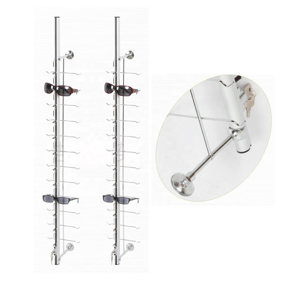 wall mounted eyeglasses display stands locking eyewear rods sunglasses display rack