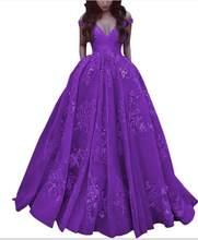 Элегантное бальное платье с открытыми плечами, атласное платье для выпускного вечера, Платье de soiree, длина до пола, Кружевная аппликация, веч...(Китай)