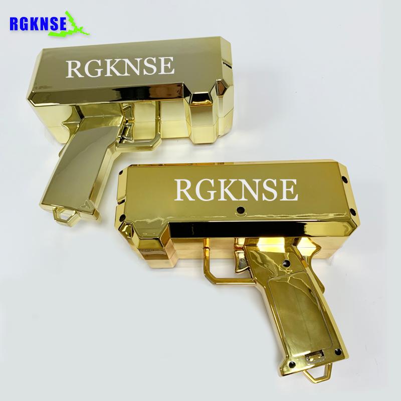 2020 new amazon toys gun customized Metallic Gold money gun chrome money spray gun Cash Cannon Make It Rain Money Dispenser