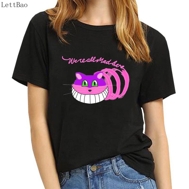 Black Alice In Femme Korean Cotton Women Aesthetic Cheshire Kpop Vogue Clothes Smile T Wonderland Size Cat 90s Tshirt Plus Shirt Nvm8nw0
