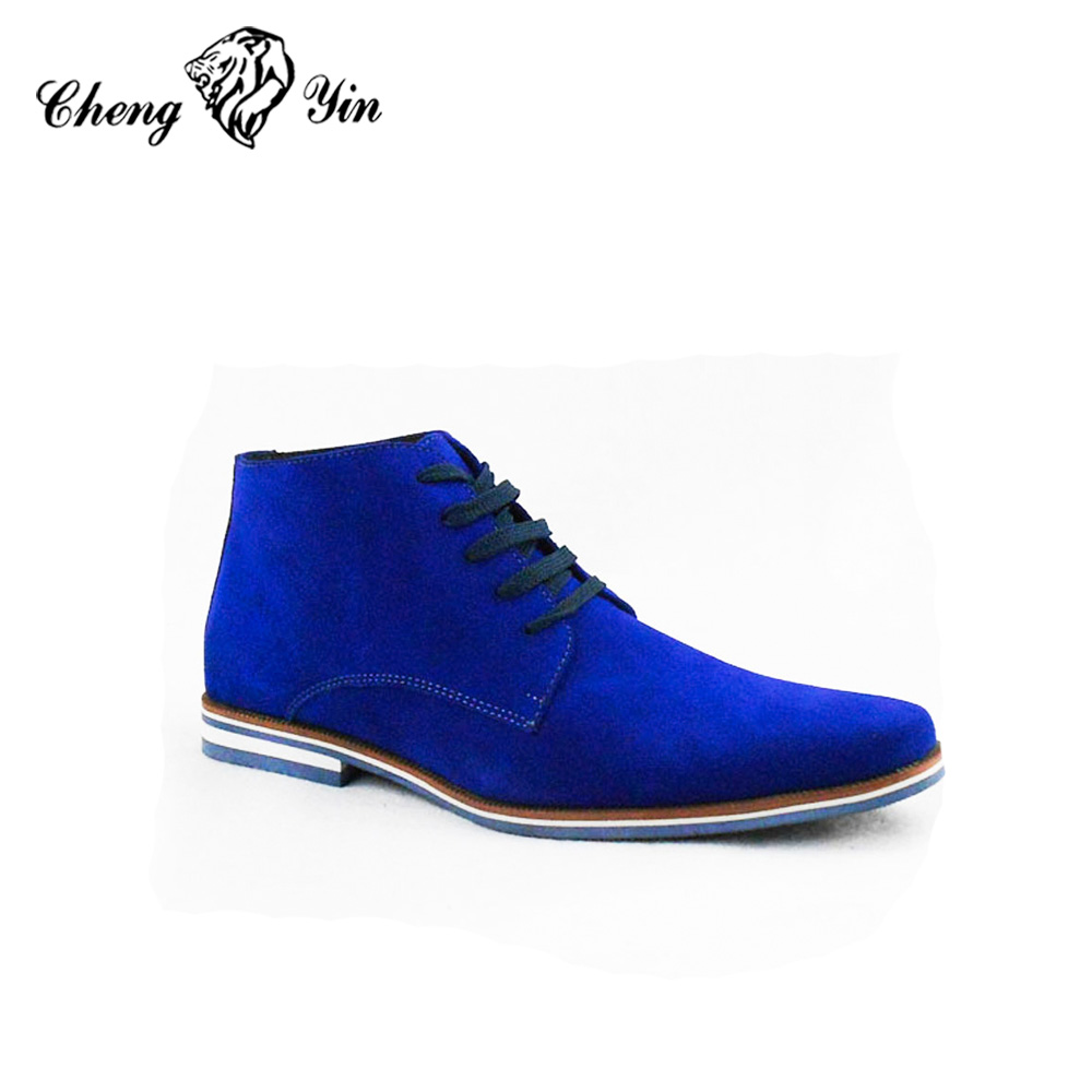 Alibaba wholesale men boots Hot Sell Blue Suede Chelsea boot men Genuine Leather Fashion Gentle Ankle Derby Men Winter Boots