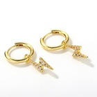 Gold Plated Hoop Earrings 925 Silver Hoop Earring Shockingly Adorable Real Gold Plated 925 Sterling Silver 3A CZ Hoop Lightning Bolt Huggie Earrings