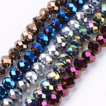 PandaHall 4mm Electroplate Faceted Rondelle Glass Beads