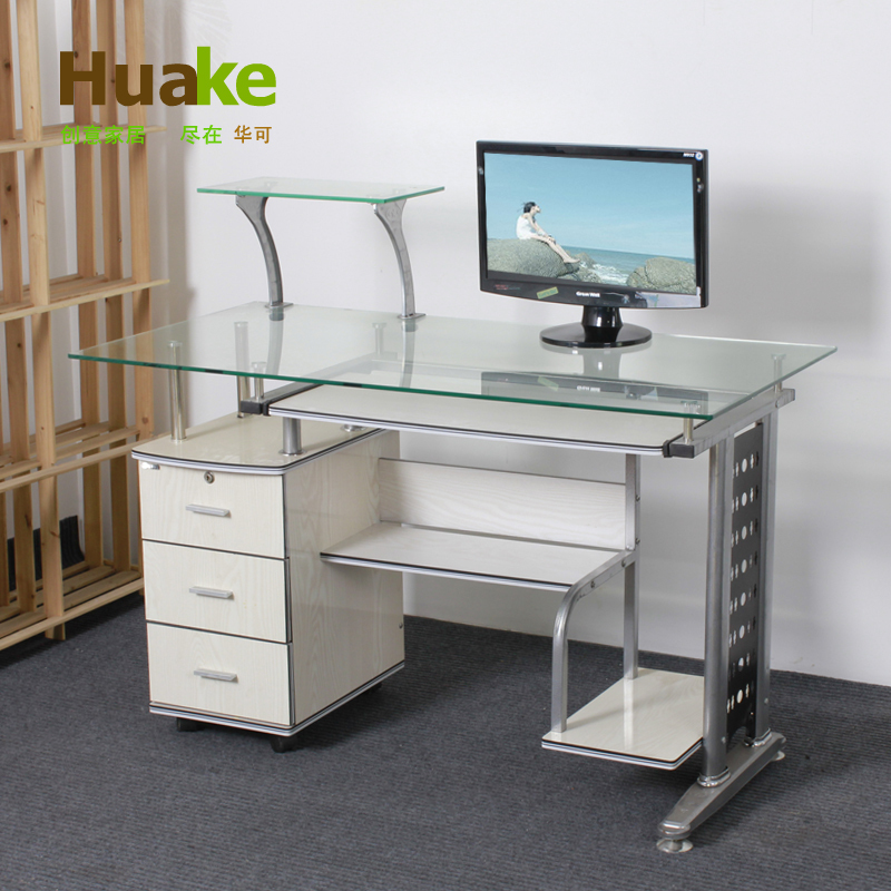 small long 120 60 high 74cm wide white tempered glass computer table desk with three drawers. Black Bedroom Furniture Sets. Home Design Ideas