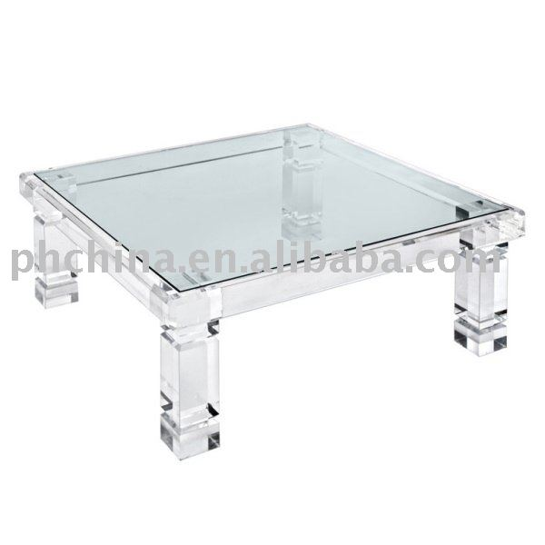 Clear Acrylic Adrienne Coffee Table With Glass Top;Clear