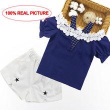 Летняя одежда для девочек, жилет с кружевным рукавом + шорты, комплект одежды для девочек, летние клетчатые костюмы для подростков 6, 8, 10, 12, 13, ...(Китай)