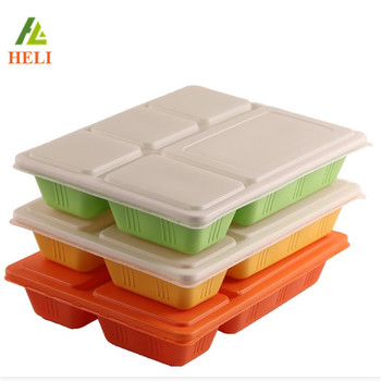 5 Compartments vacuum formed disposable plastic food trays with lid