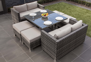 American Style Modern Garden Wicker Cube Dining Chairs and Table with Glass Cover Rattan Outdoor Furniture Set