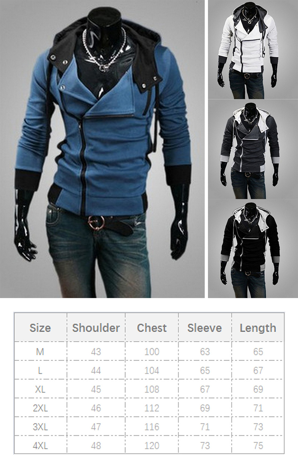 c9bc17b54 Fashion Side Zipper Mens Fleece Tight Hooded Sweatshirt Casual Slim ...
