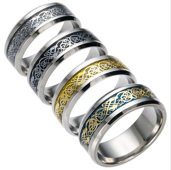 SM001 Huilin Jewelry Personalized Customized Colorful Hollow Out Dragon Stainless Steel Ring