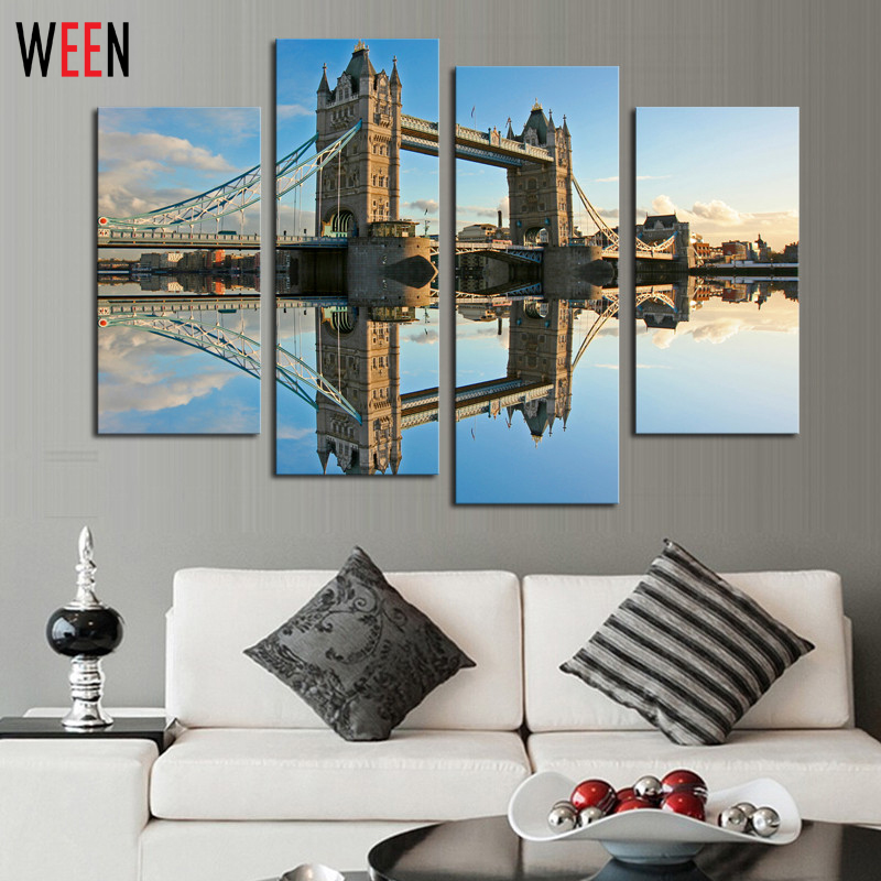 4 pcs classical bridge landscape art living room wall - Cheap wall decals for living room ...