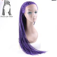Desire for hair 28 дюймов 70 см длинные предварительно плетеные косички термостойкие синтетические парики на кружеве для черной женщины фиолетовог...(Китай)