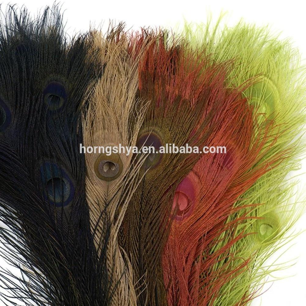 Оптовая продажа отбелен и изготовленные на заказ цветастые окрашенные в виде павлиньих перьев для украшения
