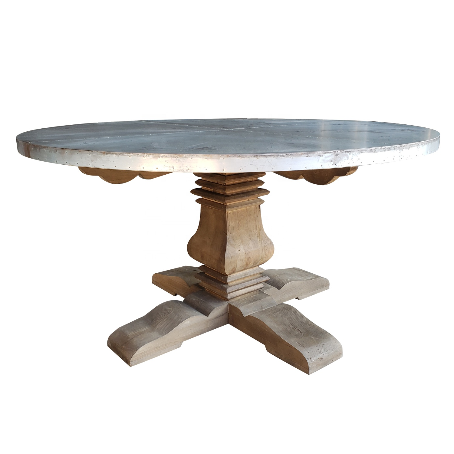 Industrial Style Round Shape Zinc Top Wood Base Dining Table ...