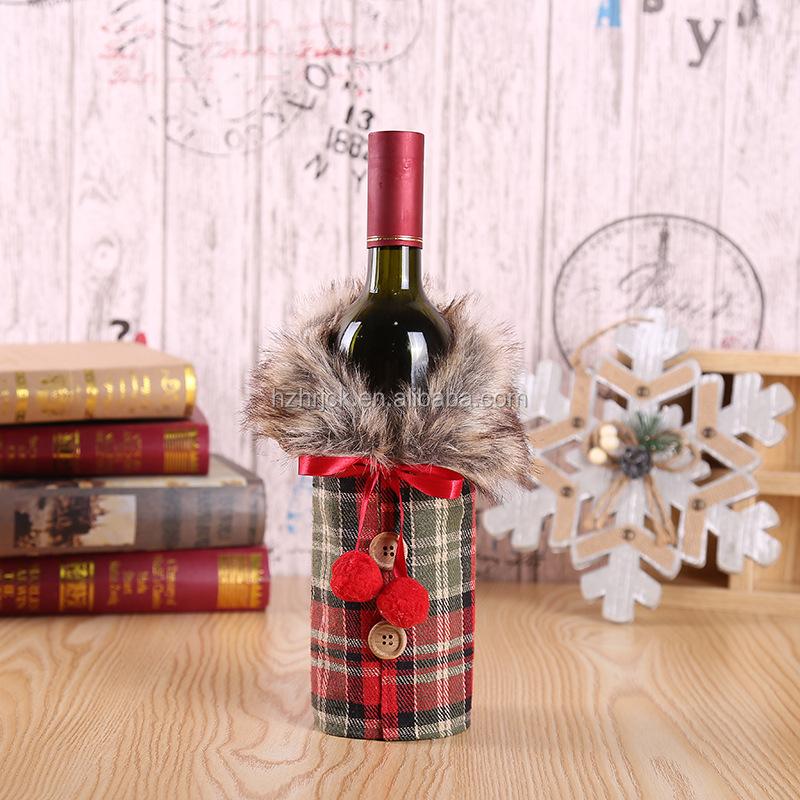 dongguan NUEEUDD Adornos navide/ños 1 Pieza Botella de Vino Tinto Cubierta Ropa de Navidad Falda Decoraci/ón Inicio Cena Fiesta Decoraci/ón de Mesa Regalo 2#