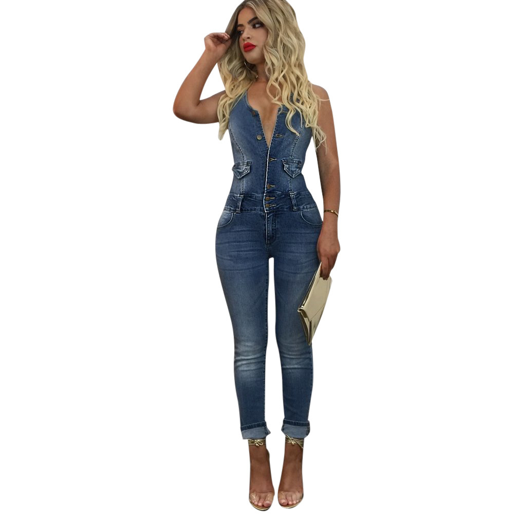 08edb40b23f 2019 Women New Sexy Denim Jumpsuits Sleeveless Slim Back Hollow ...