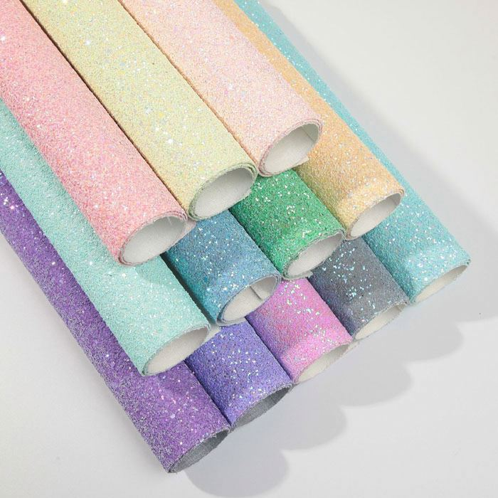 54 inch (1.37 m) Chunky glitter faux leather fabric for hair bow