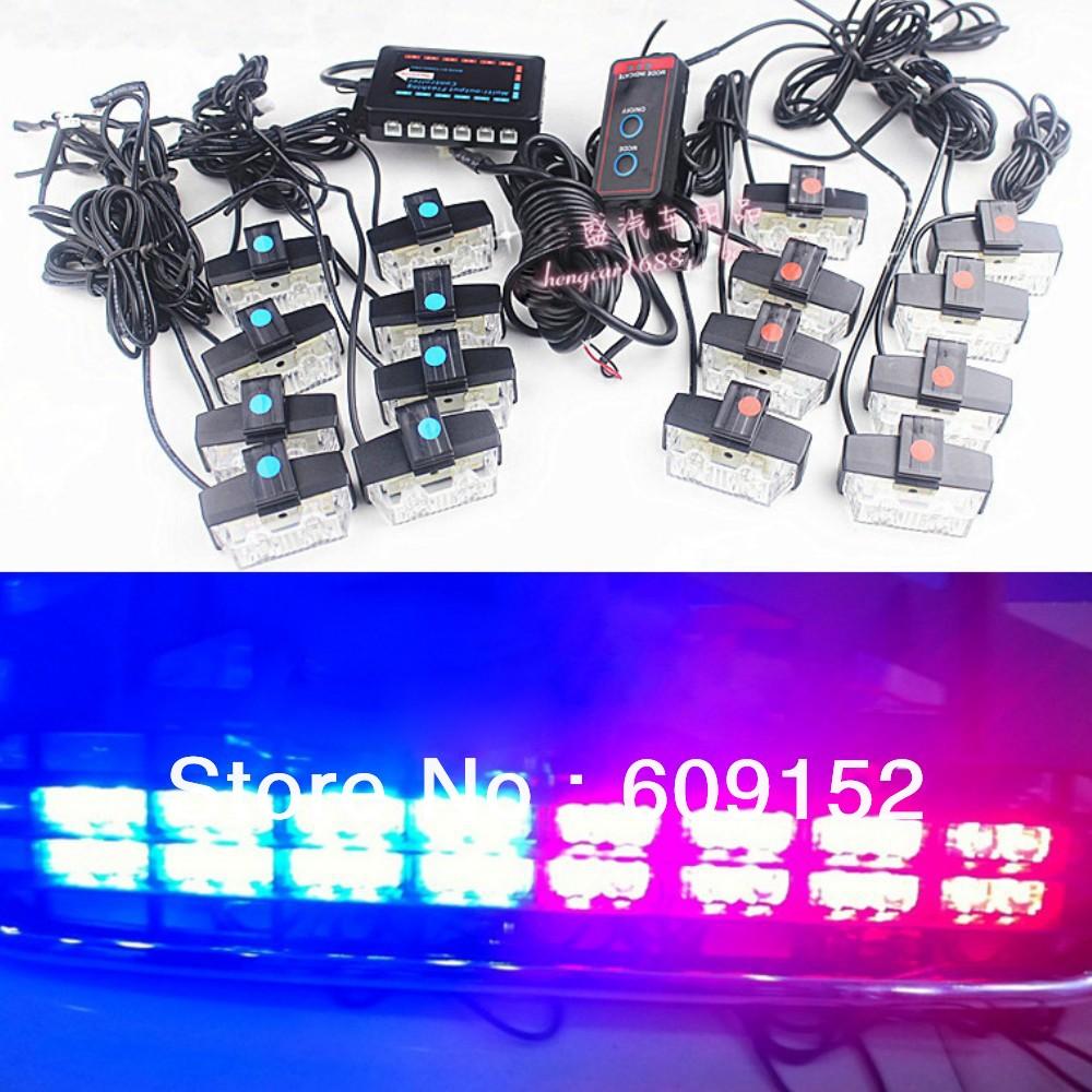 buy 32w 16 lamps 1 strobe controller kit police fireman car truck led work. Black Bedroom Furniture Sets. Home Design Ideas