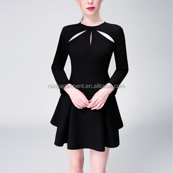 Pretty dresses,black cocktail dresses,water drop long sleeve black party dresses