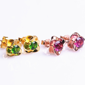 gemstone jewelry wholesale fashion rose flower 925 sterling silver natural green red tourmaline stud earrings fine jewellery