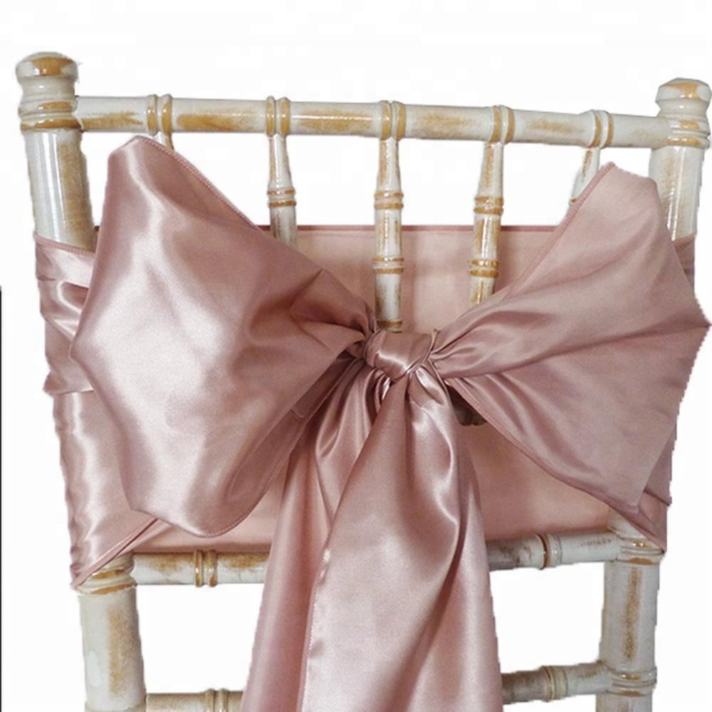 Fancy satin high quality wedding rose gold satin chair sashes