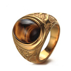 Wholesale Custom Men's Casting Design Jewelry Titanium Tiger Eye Stone Ring