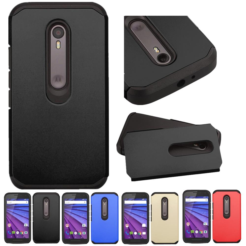 wholesale dealer 8d811 9aa62 Hybrid TPU + Plastic Armor Shockproof Hard Case For Motorola Moto G3 G 3rd  Gen Cover Protective Cases Card Holder