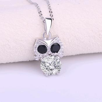 FLYP005 Huilin Jewelry 925 Sterling Silver Fashion Owl Crystal Necklace Pendant