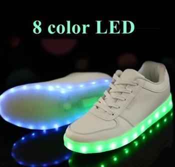 8 farben 2015 led leuchtende turnschuhe wei usb ladekabel bunten led leuchten sneaker casual. Black Bedroom Furniture Sets. Home Design Ideas