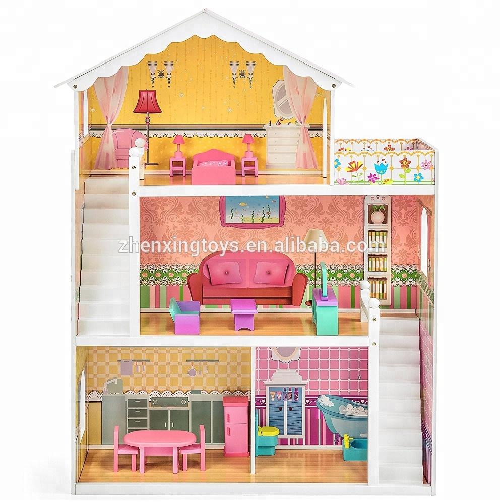 Большой деревянный кукольный дом для детей, 3 этажа