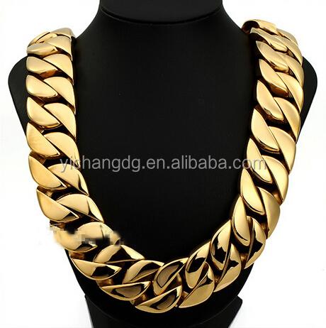 Мужская цепь из нержавеющей стали 316L, Сверхтяжелая плотная цепь золотого цвета, круглое панцирное ожерелье под заказ, 24 мм