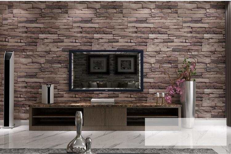 3d Wood Blocks Effect Brown Stone Brick 10m Vinyl