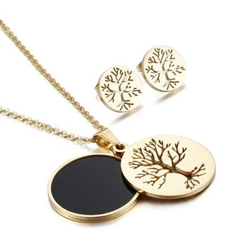 Best Selling 316L Stainless Steel Tree Of Lief Family Circle Pendant Stud Earrings Womens Necklace Jewelry Set Wholesales