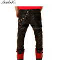 2016 New Boys Winter Fleece Leather Motorcycle Pants with Key Chain Brand Boys Elastic Waist Leather