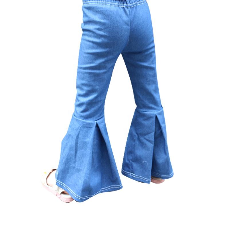 Брюки-колокольчики для маленьких девочек; джинсовые хлопковые однотонные штаны для малышей; обтягивающие