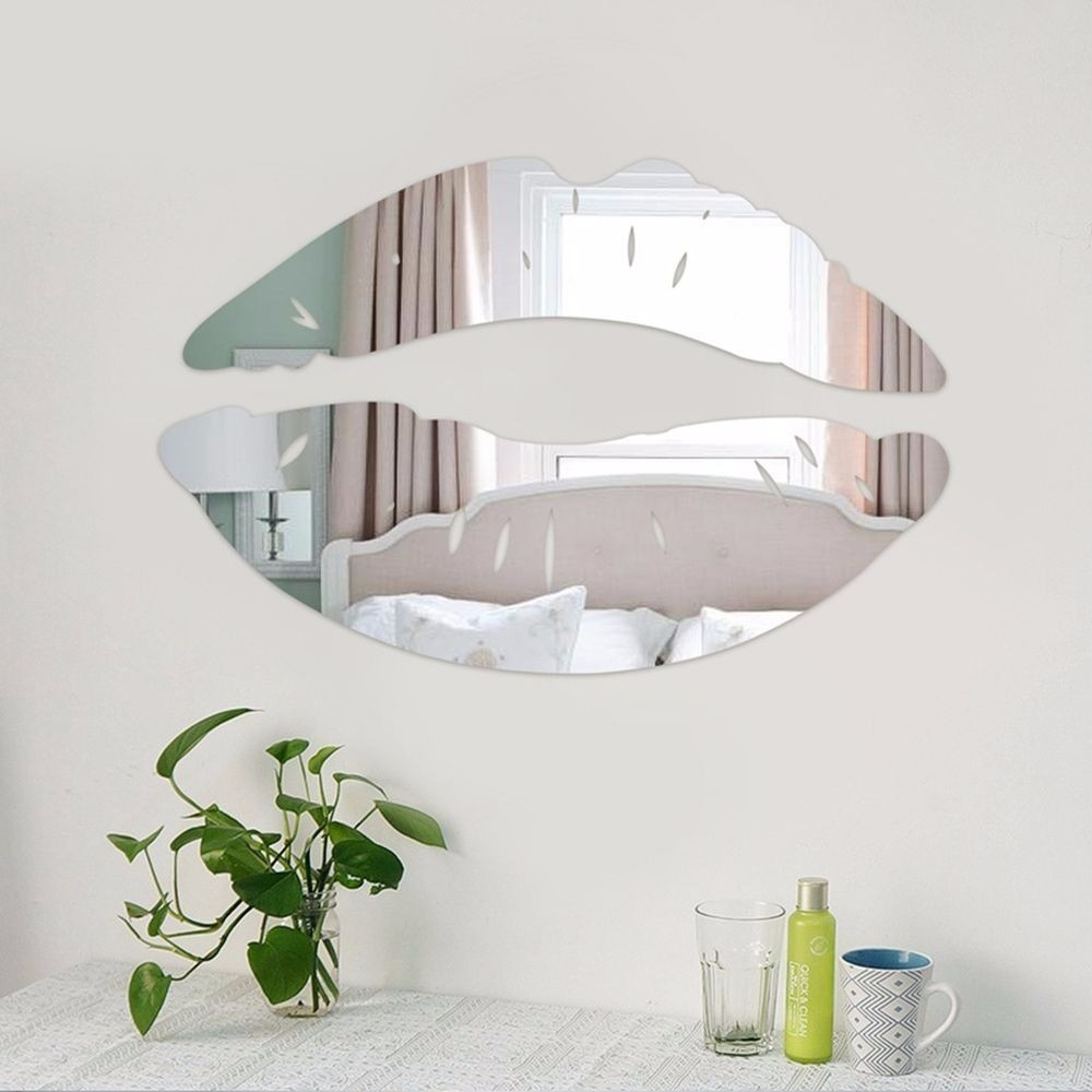 Modern Morning Kissing Lips Wall Mirror Stickers Bedroom Art Decals Home  Decor Decoration Lighted Wall Mount Mirror Living Room Mirrors From ...