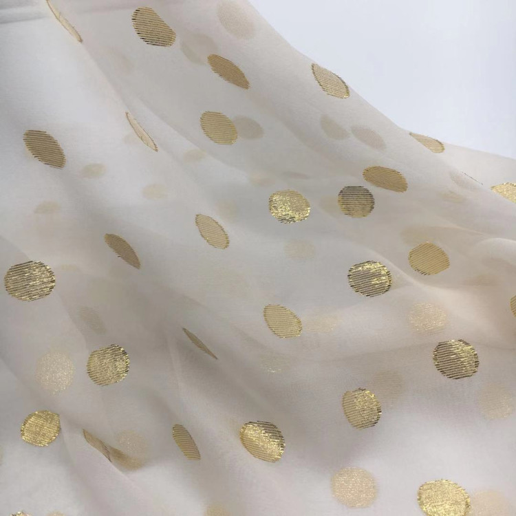 Gold lurex polka dot georgette silk fabric for clothes