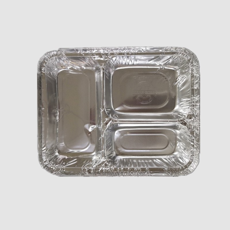 disposable aluminum tray for food container takeaway multi-cavity foil pan with lid