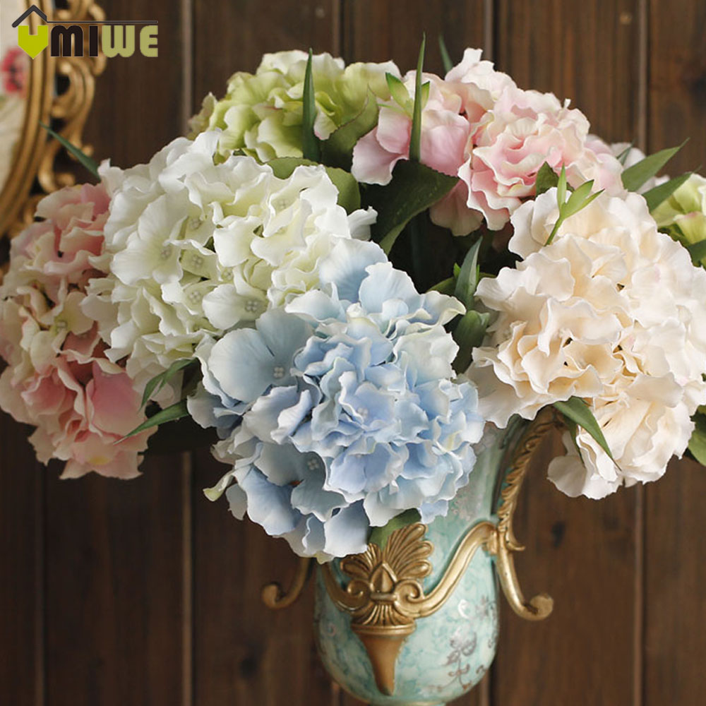 buy 5 heads real touch artificial fake silk flower hydrangea leaf artificial. Black Bedroom Furniture Sets. Home Design Ideas