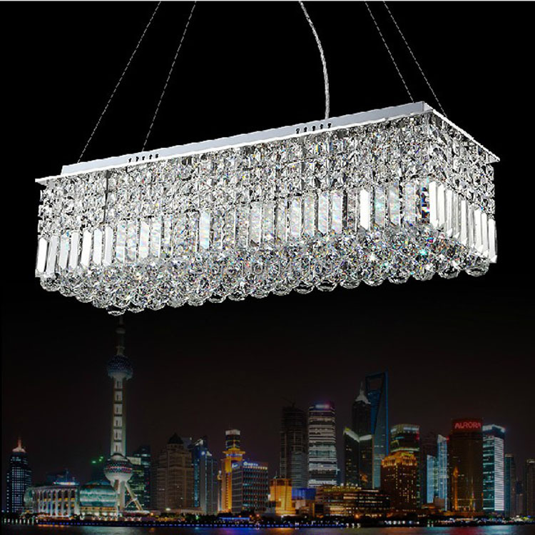 Long Dining Room Chandeliers: Long Size Rectangle Crystal Pendant Light Fitting Crystal
