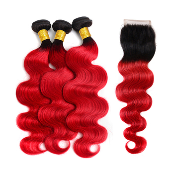 Grade 12A Brazilian Virgin Hair Bundles Black Red Ombre Human Hair With Closure