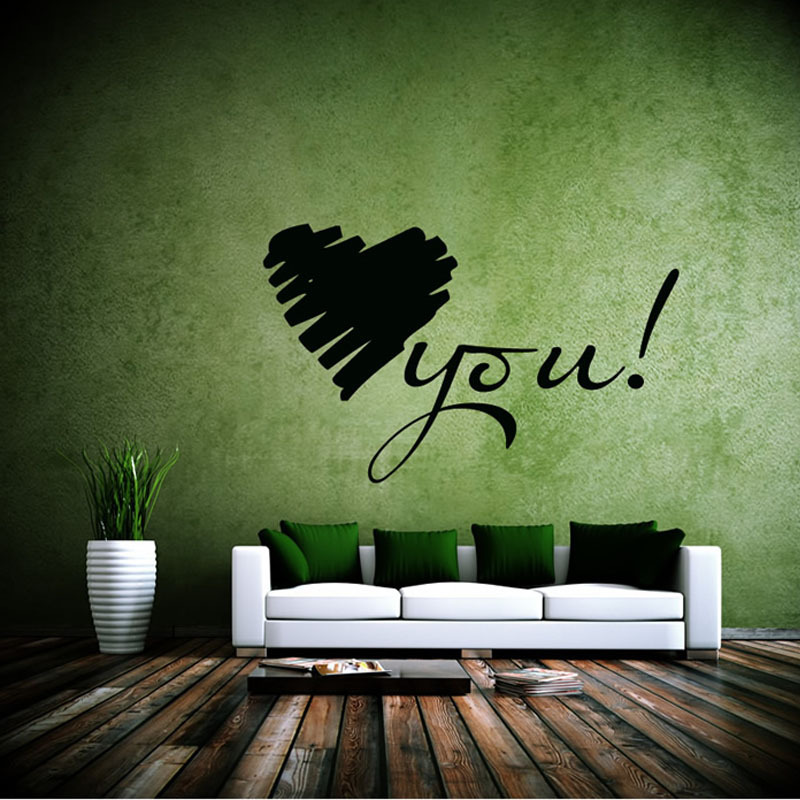 Warm And Romantic Home Decor Love You Vinyl Art Wall Sticker Removable Waterproof For Living Room