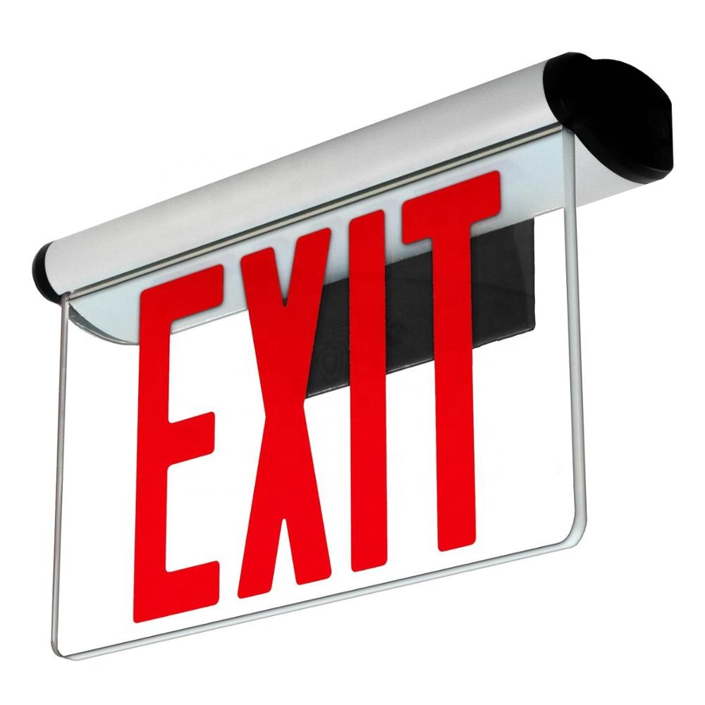 USA standard alu and acrylic panel red Letter rechargeable led emergency exit sign light