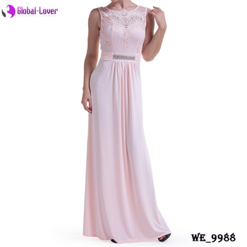 Pretty Ladies Pink Color Cocktail Party Long Maxi Women Dresses 2018