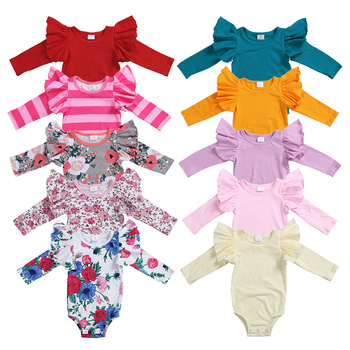 2021 top selling flutter sleeve solid kids newborn clothes bulk wholesale children boutique clothing