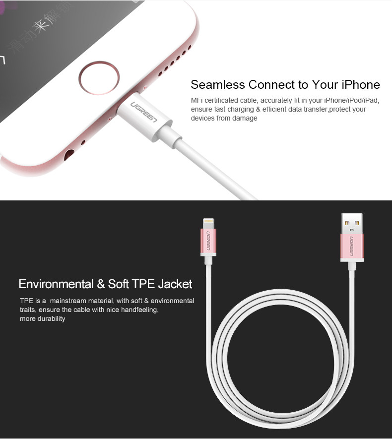Ugreen Mfi Certified 8 Pin Cable Usb Cable Data Sync